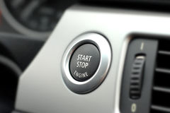 Start Button. In new vehicle dashboard Royalty Free Stock Image