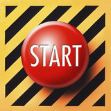 Start button. Red button with white start letters on diagonal orange and black background Stock Image