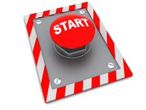 Start button. 3d illustration of red button with sign 'start' on it Stock Photos
