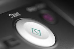 Start button. Of printer, macro Royalty Free Stock Photo