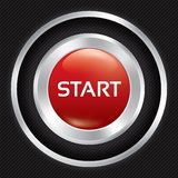 Start button on Carbon fiber background. Stock Image