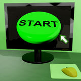 Start Button On Computer Shows Control Or Activating Royalty Free Stock Image
