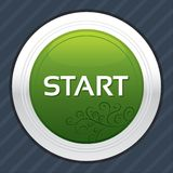 Start button. Green round sticker. Royalty Free Stock Image