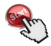 Start button and hand cursor Stock Photos