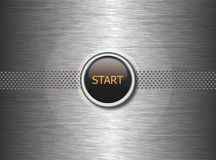 Start button on metal background Stock Image