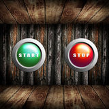 Start button and Stop button in the wooden box Royalty Free Stock Images