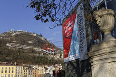 Start of the cable car to The Bastille of Grenoble Stock Image