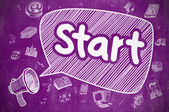 Start - Cartoon Illustration on Purple Chalkboard. Yelling Megaphone with Text Start on Speech Bubble. Hand Drawn Illustration. Business Concept. Speech Bubble Royalty Free Stock Images