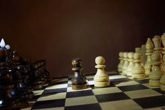Start of chess game. Wooden chess pieces Stock Image
