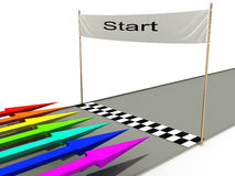 Start with colored arrows №1. Start with colored arrows on a white background №1 Stock Image