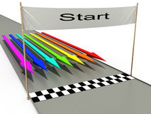 Start with colored arrows №2. Start with colored arrows on a white background №2 Stock Images