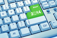 Start 2014 of computer keyboard. The green button experience of computer keyboard Stock Image