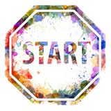 Start concept, watercolor splashes as a sign Stock Image