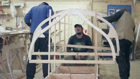 Start of construction of a boat at the shipyard stock footage