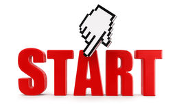 START  and cursor (clipping path included) Stock Photography