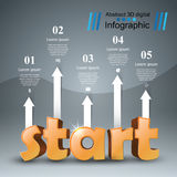 Start 3d business infographics. Start 3d logo on the grey background Royalty Free Stock Images