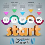 Start 3d business infographics. Start 3d idea on the grey background Stock Images