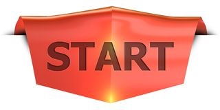 Banner START. START 3D rendered red banner , isolated on white background Stock Image