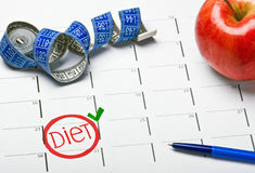 Start date the calendar diet stock photography