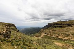 Start of the descend at Sani Pass. South Africa stock photos