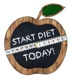 Start diet today apple blackboard Stock Photography
