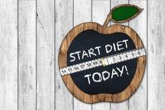 Start diet today apple blackboard Royalty Free Stock Photo