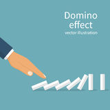 Start domino effect. Chain reaction concept. Successful intervention. Man pushes the domin. Business metaphor. Vector illustration flat design. Isolated on Royalty Free Stock Image