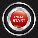 Start Engine button on Carbon fiber background. Stock Photo