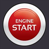 Start engine button. Red round sticker. Royalty Free Stock Image