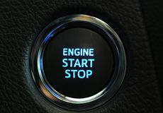 Start engine button. Start stop engine button on a modern car dashboard Stock Photo