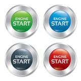 Start Engine buttons set. Round stickers. Stock Images