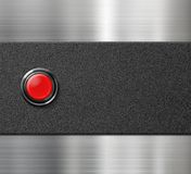Start engine red blank button on black plastic and Royalty Free Stock Photography