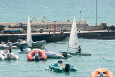 At the start of the European Championship in sailing in Pomorie Stock Photography