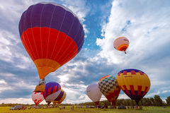 Start of the evening flight of the hot air balloons. Royalty Free Stock Photos