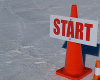 Start, event sign on right of frame. Royalty Free Stock Photos