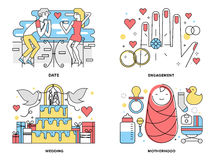 Start a family flat line illustration Stock Photography