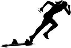 Start female runner. From starting blocks sprint competitions vector illustration