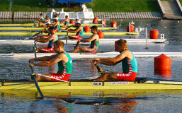 At the start of finals in rowing Stock Images