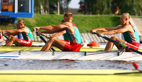 At the start of finals in rowing stock photo