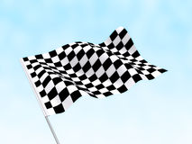 Start Finish Flag. A start flag on a cloudy sky background Royalty Free Stock Photo
