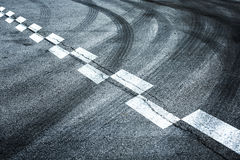 Start and finish line on asphalt road Royalty Free Stock Photo