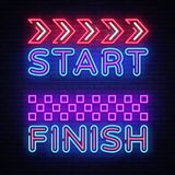 Start Finish neon sign vector. Start Finish Design template neon sign, Racing light banner, neon signboard, nightly. Bright advertising, light inscription Royalty Free Stock Photos