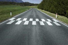 Start finish pattern line on road ground Stock Image
