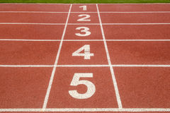 Start or finish position on running track Royalty Free Stock Image