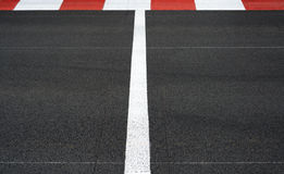 Start and Finish race line asphalt Grand Prix circuit Stock Images