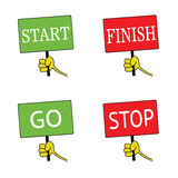 Start and finish signboard color vector Royalty Free Stock Photography