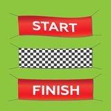 Start and finish textile banners  set. Flag sport race, co Stock Photo
