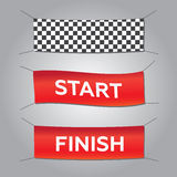Start and finish textile banners  set. Flag sport race Stock Photos