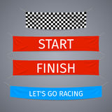 Start and finish textile banners vector set. Flag sport race, competition finishing, winner success illustration Stock Photography