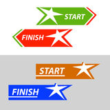 Start and finish, vector sticker, button An image. With a star similar to the human figure Royalty Free Stock Photos